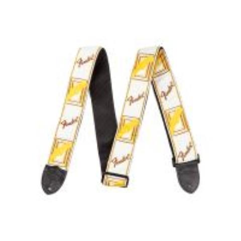Fender-ストラップMonogrammed Strap, White/Brown/Yellow