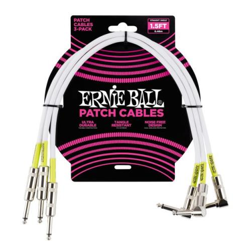 ERNIE BALL1.5' Straight / Angle Patch Cable 3-pack - White