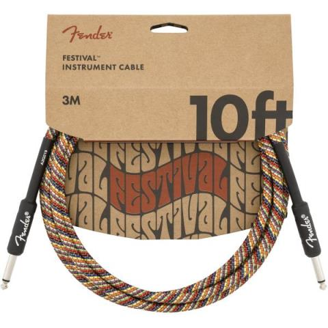 FenderFestival Instrument Cable, Rainbow 10FT