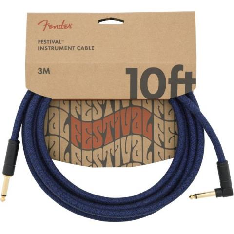 FenderAngled Festival Instrument Cable, Blue 10FT