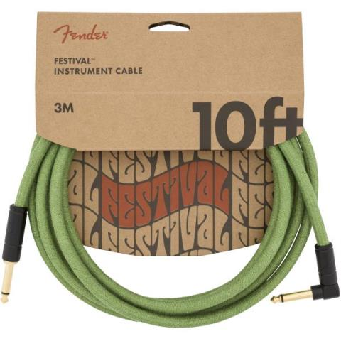 FenderFestival Hemp Instrument Cables Green 10FT