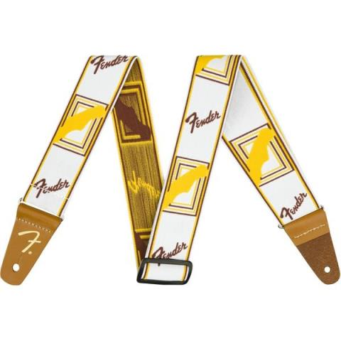 FenderWeighLess Monogram Strap White/Brown/Yellow