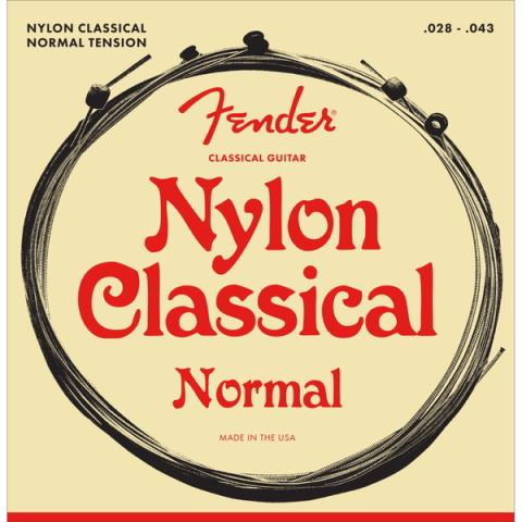 Fender-ガットギター弦Nylon Acoustic Strings, 130 Clear/Silver, Ball End, Gauges .028-.043, (6)
