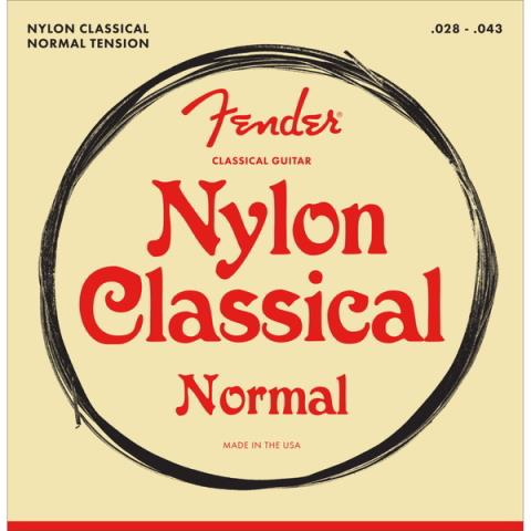 Fender-ガットギター弦Nylon Acoustic Strings, 100 Clear/Silver, Tie End, Gauges .028-.043, (6)