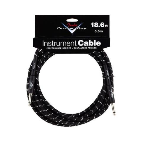 Fender-楽器用シールドFender® Performance Series Instrument Cable, 18.6', Straight, Black Tweed